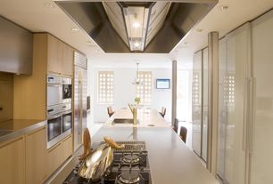 Contemporary Kitchen with European Cabinets, Corian counters, U-shaped, Kitchen island, Stainless steel counters, Flush