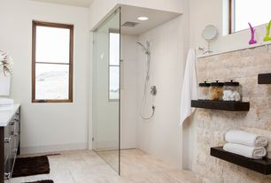Contemporary 3/4 Bathroom with European Cabinets, Handheld showerhead, Flush, Daltile Fabrique Blanc Linen Porcelain Tile