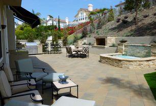Modern Patio with Trellis, Outdoor kitchen, exterior stone floors, Pathway, Fountain, Bird bath