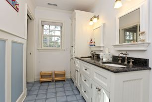 Cottage 3/4 Bathroom with Inset cabinets, stone tile floors, double-hung window, Double sink, Paint, Flat panel cabinets