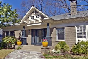 Traditional Front Door with specialty window, Pathway, exterior stone floors, French doors, Paint 2, double-hung window
