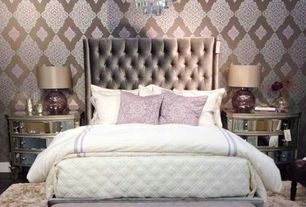 Eclectic Master Bedroom with High fashion home smoky plum sphere lamp, High fashion home bowfront 3 drawer mirrored chest
