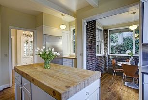 Traditional Kitchen with Pendant light, Wood counters, Slate counters, Brooks Custom - Standard Wide Plank Wood Countertop