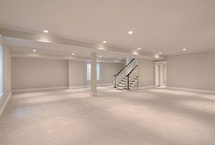 Traditional Basement with Wood banister, Led can lighting, Column, Carpet