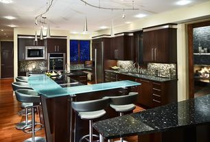 Contemporary Kitchen with picture window, dishwasher, Standard height, U-shaped, Quartz counters, French doors, Paint 2
