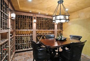 Mediterranean Wine Cellar with Designer Series 100-Bottle 5-Column Wine Rack - Dark Walnut Stain, Chandelier, Crown molding
