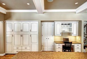 Traditional Kitchen with Crown molding, Inset cabinets, Simple granite counters, Raised panel, Exposed beam
