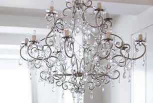 "Traditional Entryway with Chandelier, Chrome and crystal 29"" wide 12-light chandelier"