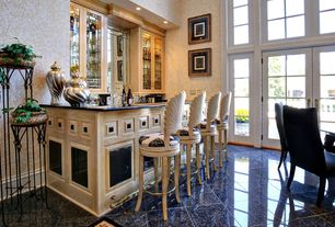 Traditional Bar with quartz tile floors, Transom window, High ceiling, Built-in bookshelf, French doors, interior wallpaper