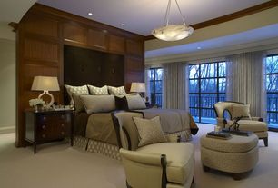 Traditional Master Bedroom with flush light, Crown molding, can lights, Paint, High ceiling, picture window