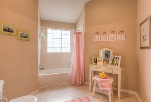Traditional Kids Bathroom with Flush, Wood counters, Flat panel cabinets, tiled wall showerbath, Kids bathroom