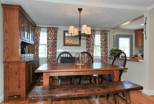 Country Dining Room with Chandelier, Built-in bookshelf, Hardwood floors