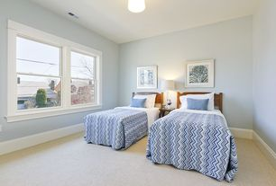 Traditional Guest Bedroom with flush light, Carpet
