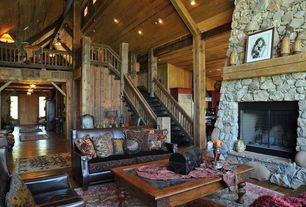 Eclectic Living Room with Flush mount light, stone fireplace, Virginia Oriental Area Rug (7'9 x 11'), Loft, Wood staircase