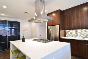 """Contemporary Kitchen with One-wall, European Cabinets, 36"""" treviso series stainless steel island range hood - 860 cfm, Flush"""