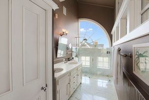 Traditional Master Bathroom with Double sink, High ceiling, Paint 1, Half arch window, Flat panel cabinets, Casement, Shower
