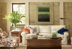 Eclectic Living Room with Exposed beam, picture window, Hardwood floors, Standard height