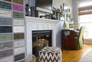 Eclectic Home Office with Crown molding, West Elm Zigzag Dhurrie Mini Pouf (Discontinued), metal fireplace, Hardwood floors