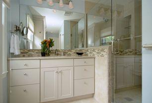 Modern Master Bathroom with Simple granite counters, Quorum lighting friedman classic nickel bathroom light, Undermount sink