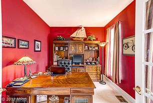 Traditional Home Office with French doors, Carpet, Built-in bookshelf
