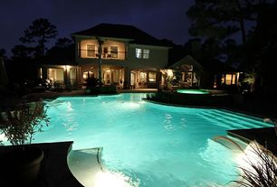 Traditional Swimming Pool with double-hung window, French doors, Other Pool Type, Deck Railing