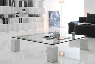 Modern Living Room with Built-in bookshelf, High ceiling, Foscarini Twiggy Floor Lamp, Cattelan Italia Dielle Coffee Table