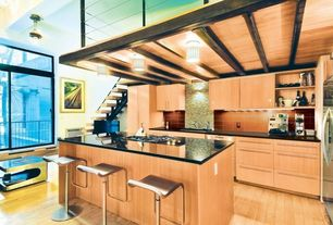Contemporary Kitchen with Built In Refrigerator, Breakfast bar, full backsplash, electric cooktop, specialty window, Flush