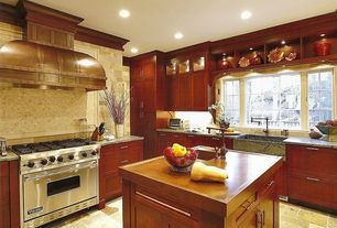 Country Kitchen with MS International Kota Brown Slate Tile, Stone Tile, Kitchen island, Complex marble counters, L-shaped