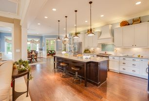 Traditional Kitchen with Flat panel cabinets, Simple granite counters, One-wall, full backsplash, Pendant light, gas range
