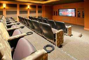 Modern Home Theater with Wall sconce, Wainscotting, Carpet