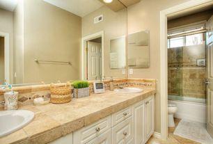 Traditional Full Bathroom with Framed Partial Panel, Standard height, six panel door, Shower, framed showerdoor, Vinyl floors