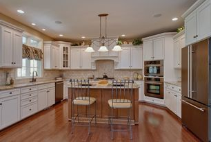 Traditional Kitchen with Custom hood, Feiss Tuscan Villa 3 Light Kitchen Island Pendant, Undermount sink, Breakfast bar