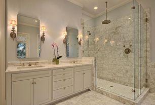 Traditional Master Bathroom with Flat panel cabinets, Master bathroom, Zaca bellatrix recessed medicine cabinet, Wall sconce
