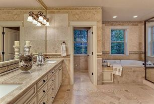 Rustic Master Bathroom with Polished Roman Veincut Travertine, Custom tile mosaic, Glass shower, Double sink vanity