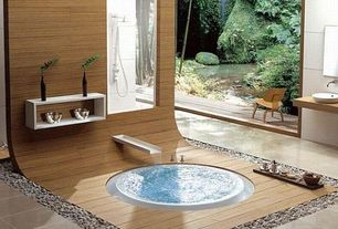 Asian Master Bathroom with Vessel sink, limestone tile floors, High ceiling, Foot washing station, Wood counters, Rain shower