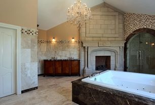 Traditional Master Bathroom with Double sink, Undermount sink, Complex marble counters, Master bathroom, Fireplace, Bathtub