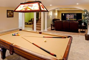 Traditional Game Room with Paint 2, stone tile floors, Standard height, Columns, Pendant light, Paint 1, Paint 3, can lights