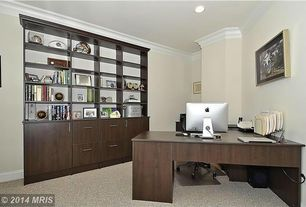Traditional Home Office with Crown molding, can lights, Standard height, Built-in bookshelf, Carpet