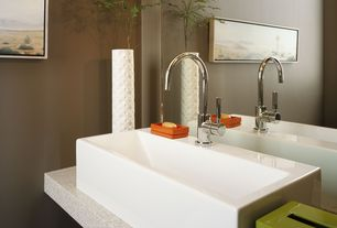Contemporary Powder Room with Simple granite counters, Vessel sink, Powder room, High ceiling