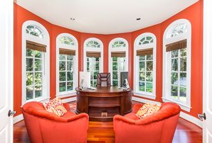 Traditional Home Office with Hardwood floors, Arched window, High ceiling