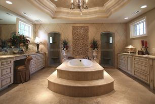 Traditional Master Bathroom with can lights, Master bathroom, drop in bathtub, Simple Granite, Simple granite counters
