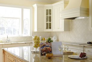 Traditional Kitchen with Ms international amarelo ornamental granite, High ceiling, Undermount sink, Complex granite counters
