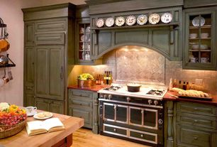 Country Kitchen with Hardwood floors, High ceiling, Stone Tile, Limestone Tile, Glass panel, Inset cabinets, One-wall