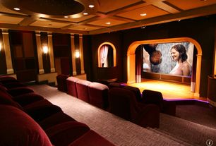 Traditional Home Theater with Carpet, Wall sconce, Box ceiling