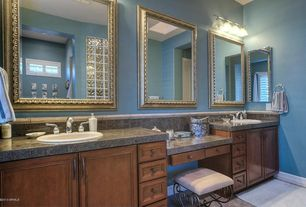 Traditional Master Bathroom with Stone Tile, Simple Granite Tile, specialty door, simple granite tile counters, Raised panel