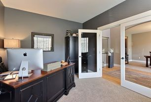 Contemporary Home Office with French doors, Carpet, Standard height