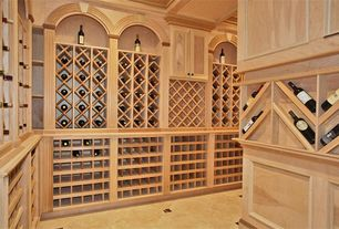 Traditional Wine Cellar with Built-in bookshelf, Box ceiling, Concrete floors