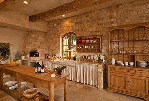 Country Kitchen with Limestone, One-wall, Reual james casual boothbay island dining table, limestone tile floors