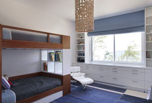 Contemporary Kids Bedroom with Eaze white leather/ palisander wood lounge chair, David Trubridge ULU Full Pendant Lamp