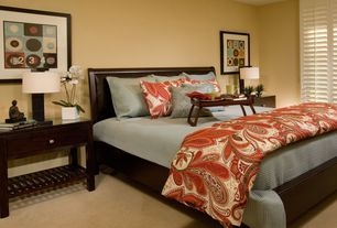 Asian Master Bedroom with Notre dame night stand, Floating Square Table Lamp, Carpet, Modus City ll Sleigh Bed
